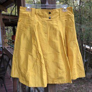 J Crew A-Line 100% Silk Lined Skirt Mustard Yellow